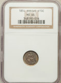 Seated Half Dimes: , 1854 H10C Arrows MS66 NGC. NGC Census: (16/4). PCGS Population(8/1). Mintage: 5,740,000. Numismedia Wsl. Price for problem...