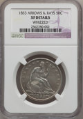 Seated Half Dollars: , 1853 50C Arrows and Rays -- Whizzed -- NGC Details. XF. NGC Census:(51/879). PCGS Population (108/850). Mintage: 3,532,708...