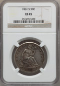 Seated Half Dollars: , 1861-S 50C XF45 NGC. NGC Census: (7/61). PCGS Population (6/59).Mintage: 939,500. Numismedia Wsl. Price for problem free N...