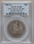 Seated Half Dollars, 1861-O 50C CSA Obverse VG8 PCGS. FS-401 (FS-007), WB-102. PCGSPopulation (1/23). NGC Census: (0/0)....