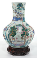 Asian:Chinese, A CHINESE FAMILLE ROSE VASE ON WOOD STAND . Circa 1900. 16 incheshigh (40.6 cm). ... (Total: 2 Items)