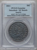 Bust Half Dollars, 1811 50C Small 8 -- Smoothed -- PCGS Genuine. XF Details. NGCCensus: (0/0). PCGS Population (42/283)....