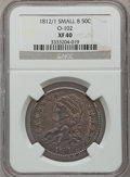 Bust Half Dollars: , 1812/1 50C Small 8 XF40 NGC. O-102. NGC Census: (9/69). PCGSPopulation (18/86). Numismedia Wsl. Price for problem free N...