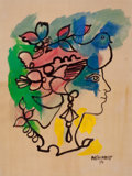 Latin American, RENÉ PORTOCARRERO (Cuban, 1912-1985). Flora, 1973.Watercolor on paper. 24-1/4 x 18-1/2 inches (61.6 x 47.0 cm).Signed ...