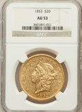 Liberty Double Eagles: , 1853 $20 AU53 NGC. NGC Census: (153/518). PCGS Population (64/170).Mintage: 1,261,326. Numismedia Wsl. Price for problem f...