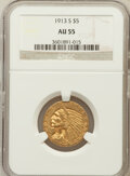 Indian Half Eagles: , 1913-S $5 AU55 NGC. NGC Census: (353/1018). PCGS Population(161/458). Mintage: 408,000. Numismedia Wsl. Price for problem ...