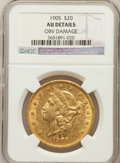 Liberty Double Eagles: , 1905 $20 -- Obv Damage -- NGC Details. AU. NGC Census: (11/752).PCGS Population (14/604). Mintage: 58,900. Numismedia Wsl....
