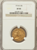 Indian Half Eagles: , 1914-S $5 XF45 NGC. NGC Census: (46/1336). PCGS Population(40/878). Mintage: 263,000. Numismedia Wsl. Price for problem fr...