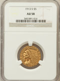 Indian Half Eagles: , 1913-S $5 AU58 NGC. NGC Census: (641/383). PCGS Population(173/291). Mintage: 408,000. Numismedia Wsl. Price for problem f...