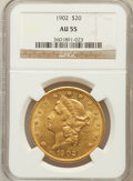 Liberty Double Eagles: , 1902 $20 AU55 NGC. NGC Census: (23/443). PCGS Population (44/483).Mintage: 31,140. Numismedia Wsl. Price for problem free ...