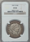 Barber Half Dollars: , 1907-D 50C XF40 NGC. NGC Census: (5/224). PCGS Population (27/315).Mintage: 3,856,000. Numismedia Wsl. Price for problem f...