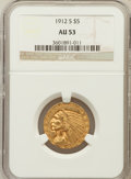 Indian Half Eagles: , 1912-S $5 AU53 NGC. NGC Census: (120/1122). PCGS Population(51/459). Mintage: 392,000. Numismedia Wsl. Price for problem f...