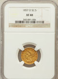 Liberty Quarter Eagles: , 1857-O $2 1/2 XF40 NGC. NGC Census: (10/240). PCGS Population(7/133). Mintage: 34,000. Numismedia Wsl. Price for problem f...