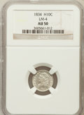 Bust Half Dimes, 1834 H10C AU50 NGC. LM-4. NGC Census: (11/506). PCGS Population(22/438). Mintage: 1,480,000. Numismedia Wsl. Price for pro...