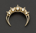 Estate Jewelry:Brooches - Pins, Victorian Revival Diamond & Enamel Crescent Pendant/Brooch. ...