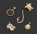 Estate Jewelry:Other , A Lot Of Five Gold Charms. ... (Total: 5 Items)