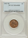 Lincoln Cents: , 1927-D 1C MS64 Red and Brown PCGS. PCGS Population (237/56). NGCCensus: (122/52). Mintage: 27,170,000. Numismedia Wsl. Pri...