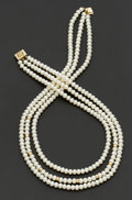 Estate Jewelry:Necklaces, Freshwater Cultured Pearl & Gold Necklace. ...
