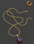 Estate Jewelry:Other , Amethyst Gold Pendant & Citrine Unmounted Gemstone. ... (Total:2 Items)
