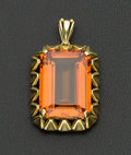 Estate Jewelry:Pendants and Lockets, Large Synthetic Sapphire Gold Pendant. ...