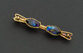 Estate Jewelry:Brooches - Pins, Tiffany & Co. Faience Glass Scarab Gold Bar Brooch. ...