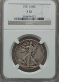 Walking Liberty Half Dollars: , 1921-S 50C Fine 12 NGC. NGC Census: (103/424). PCGS Population(193/606). Mintage: 548,000. Numismedia Wsl. Price for probl...