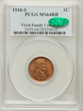 Lincoln Cents: , 1910-S 1C MS64 Red and Brown PCGS. CAC. Ex: Teich FamilyCollection. PCGS Population (435/184). NGC Census: (357/257).Mint...