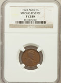 Lincoln Cents: , 1922 No D 1C Strong Reverse Fine 12 NGC. NGC Census: (280/1574).PCGS Population (102/629). Mintage: 7,160,000....