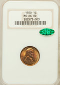 Lincoln Cents: , 1920 1C MS66 Red NGC. CAC. NGC Census: (114/6). PCGS Population(120/5). Mintage: 310,164,992. Numismedia Wsl. Price for pr...