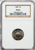 Proof Shield Nickels: , 1882 5C PR65 NGC. NGC Census: (285/264). PCGS Population (301/246).Mintage: 3,100. Numismedia Wsl. Price for problem free ...
