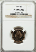 Proof Liberty Nickels: , 1888 5C PR63 Cameo NGC. NGC Census: (2/38). PCGS Population (0/15)....