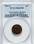 Lincoln Cents, 1921-S 1C MS63 Red and Brown PCGS. Ex: Teich Family Collection.PCGS Population (160/270). NGC Census: (122/280). Mintage: ...