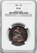 Proof Seated Half Dollars: , 1881 50C PR62 NGC. NGC Census: (26/197). PCGS Population (55/189).Mintage: 975. Numismedia Wsl. Price for problem free NGC...