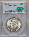 Walking Liberty Half Dollars: , 1936-D 50C MS66 PCGS. CAC. PCGS Population (342/22). NGC Census:(205/25). Mintage: 4,252,400. Numismedia Wsl. Price for pr...