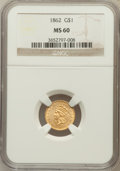 Gold Dollars: , 1862 G$1 MS60 NGC. NGC Census: (66/2417). PCGS Population(64/1663). Mintage: 1,361,390. Numismedia Wsl. Price for problem...