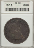 Seated Dollars: , 1847 $1 VF30 ANACS. NGC Census: (8/379). PCGS Population (20/492).Mintage: 140,750. Numismedia Wsl. Price for problem free...
