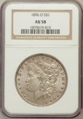 Morgan Dollars: , 1896-O $1 AU58 NGC. NGC Census: (1371/1250). PCGS Population(952/1312). Mintage: 4,900,000. Numismedia Wsl. Price for prob...