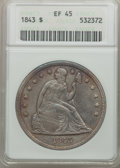 Seated Dollars: , 1843 $1 XF45 ANACS. NGC Census: (59/259). PCGS Population(101/232). Mintage: 165,100. Numismedia Wsl. Price for problemfr...