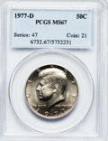 Kennedy Half Dollars: , 1977-D 50C MS67 PCGS. PCGS Population (41/1). NGC Census: (12/0).Mintage: 31,449,106. Numismedia Wsl. Price for problem fr...