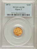 Gold Dollars: , 1873 G$1 Open 3 AU58 PCGS. PCGS Population (194/1409). NGC Census:(140/1818). Mintage: 123,300. Numismedia Wsl. Price for ...