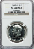 SMS Kennedy Half Dollars: , 1966 50C SMS MS68 Cameo NGC. NGC Census: (85/5). PCGS Population(13/0). Numismedia Wsl. Price for problem free NGC/PCGS c...