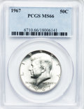 Kennedy Half Dollars: , 1967 50C MS66 PCGS. PCGS Population (102/9). NGC Census: (75/6).Mintage: 295,046,976. Numismedia Wsl. Price for problem fr...