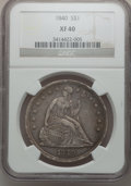 Seated Dollars: , 1840 $1 XF40 NGC. NGC Census: (16/192). PCGS Population (48/192).Mintage: 61,005. Numismedia Wsl. Price for problem free N...