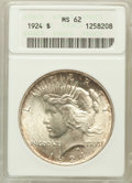 Peace Dollars: , 1924 $1 MS62 PCGS. PCGS Population (2180/26256). NGC Census:(943/36847). Mintage: 11,811,000. Numismedia Wsl. Price for pr...