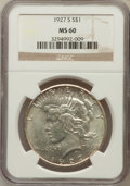 Peace Dollars: , 1927-S $1 MS60 NGC. NGC Census: (33/2822). PCGS Population(41/4246). Mintage: 866,000. Numismedia Wsl. Price for problem f...