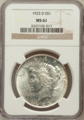 Peace Dollars: , 1923-D $1 MS61 NGC. NGC Census: (168/2548). PCGS Population(122/3891). Mintage: 6,811,000. Numismedia Wsl. Price for probl...