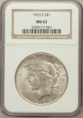 Peace Dollars: , 1923-S $1 MS62 NGC. NGC Census: (699/3861). PCGS Population(1169/4458). Mintage: 19,020,000. Numismedia Wsl. Price for pro...