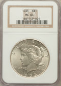 Peace Dollars: , 1935 $1 MS64 NGC. NGC Census: (1970/801). PCGS Population(2186/926). Mintage: 1,576,000. Numismedia Wsl. Price forproblem...