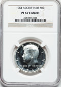 Proof Kennedy Half Dollars: , 1964 50C Accented Hair PR67 Cameo NGC. NGC Census: (656/414). PCGSPopulation (210/101). Numismedia Wsl. Price for problem...