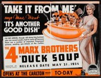"""Duck Soup (Paramount, 1933-1934). Advertisements (2) (12"""" X 18"""" & 17"""" X 22""""). Comedy. ... (T..."""